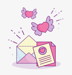 Happy valentines day message envelope letter vector