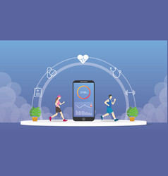 Health fitness tracker with smartphone apps vector