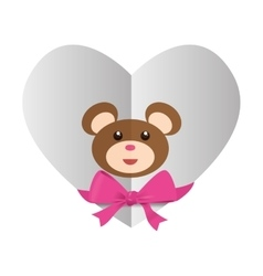 Heart with teddy bear and bow icon image vector