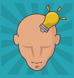 human head with bulb idea concept creativity vector image