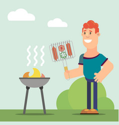 man cooks on grill vector image