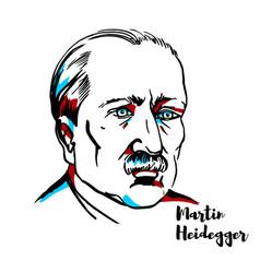 martin heidegger portrait vector image
