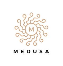 medusa mandala m letter logo icon vector image