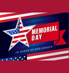 Memorial day usa star flag stripes banner vector
