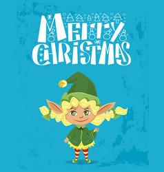 merry christmas cute elf santa assistant card vector image