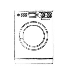 monochrome sketch of washing machine vector image