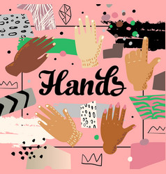 Multicultural hands design childish background vector
