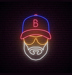 neon avatar man with baseball cap wearing vector image