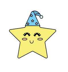Nice star shiny with sleep hat design vector