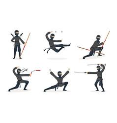 ninja in black clothes set vector image