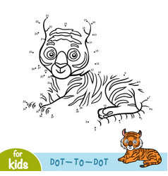 numbers game dot to dot game for children tiger vector image