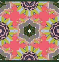 oriental colored pattern on neutral pink and vector image