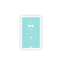 paper sticker on white background mobile app vector image