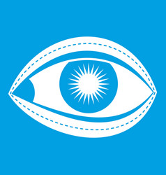 Plastic surgery of eye icon white vector