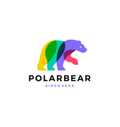 polar bear colorful logo icon vector image