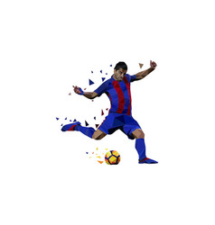 polygonal of soccer player shot on the ball vector image
