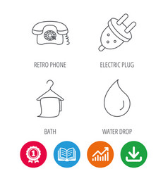 Retro phone bath towel and electric plug vector
