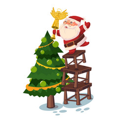 santa claus decorates christmas tree vector image