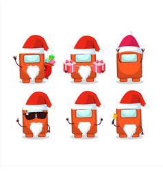 Santa claus emoticons with among us orange vector