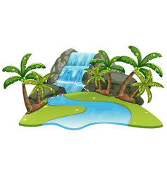 Scene with waterfall and river vector