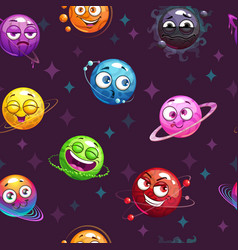 Seamless pattern with funny planets on the space vector