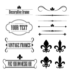 Set frames deviders and borders - fleur de lis vector