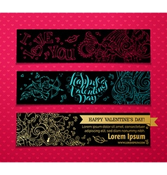 Set of linear valentines banners vector
