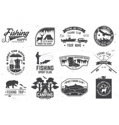 set outdoor adventure patches with vector image