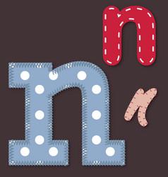 set stitched font - letter n vector image