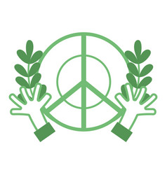silhouette hippie emblem with hands and branches vector image