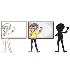 Sketch of a teacher in three different colors vector image
