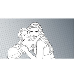 Sketched woman embrace small girl mother with vector