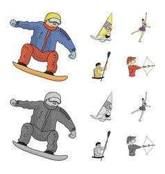 Snowboarding sailing surfing figure skating vector