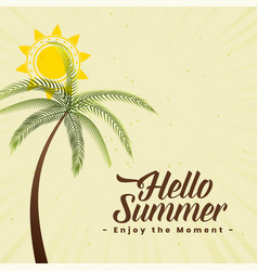 summer background with palm tree and sun vector image