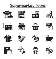 supermarket shopping center shopping mall icon vector image