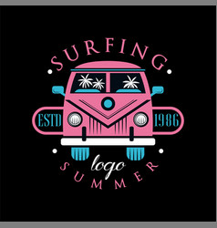 surfing summer logo design element can be used vector image
