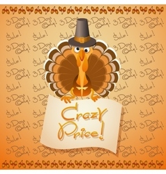 Thanksgiving Turkey Birds and text Crazy Price vector