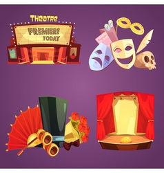 Theatre Retro Cartoon 2x2 Icons Set vector image