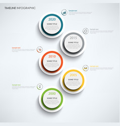 Time line info graphic with large design color vector