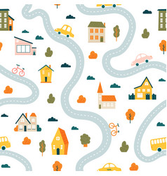 town map pattern seamless cute urban landscape vector image