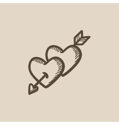 Two hearts pierced with arrow sketch icon vector