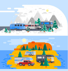 two recreational vehicles composition vector image