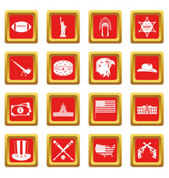 Usa icons set red vector