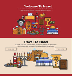 Welcome to israel promo banners set with national vector