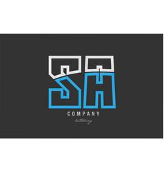 White blue alphabet letter sa s a logo icon design vector