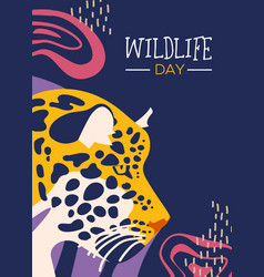Wildlife day poster of leopard in jungle vector