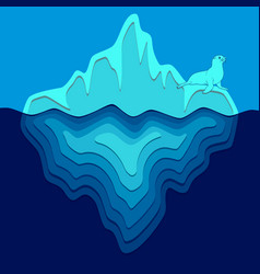 with iceberg and fur seal vector image