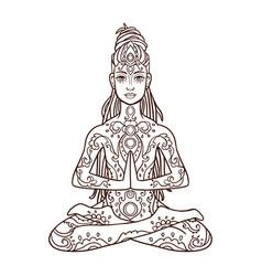 Yoga man ornament beautiful concept meditation vector