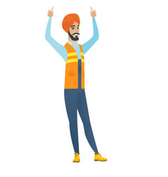 Young hindu builder standing with raised arms up vector