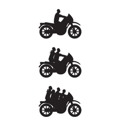 Black silhouettes of people on a motorbike vector image vector image